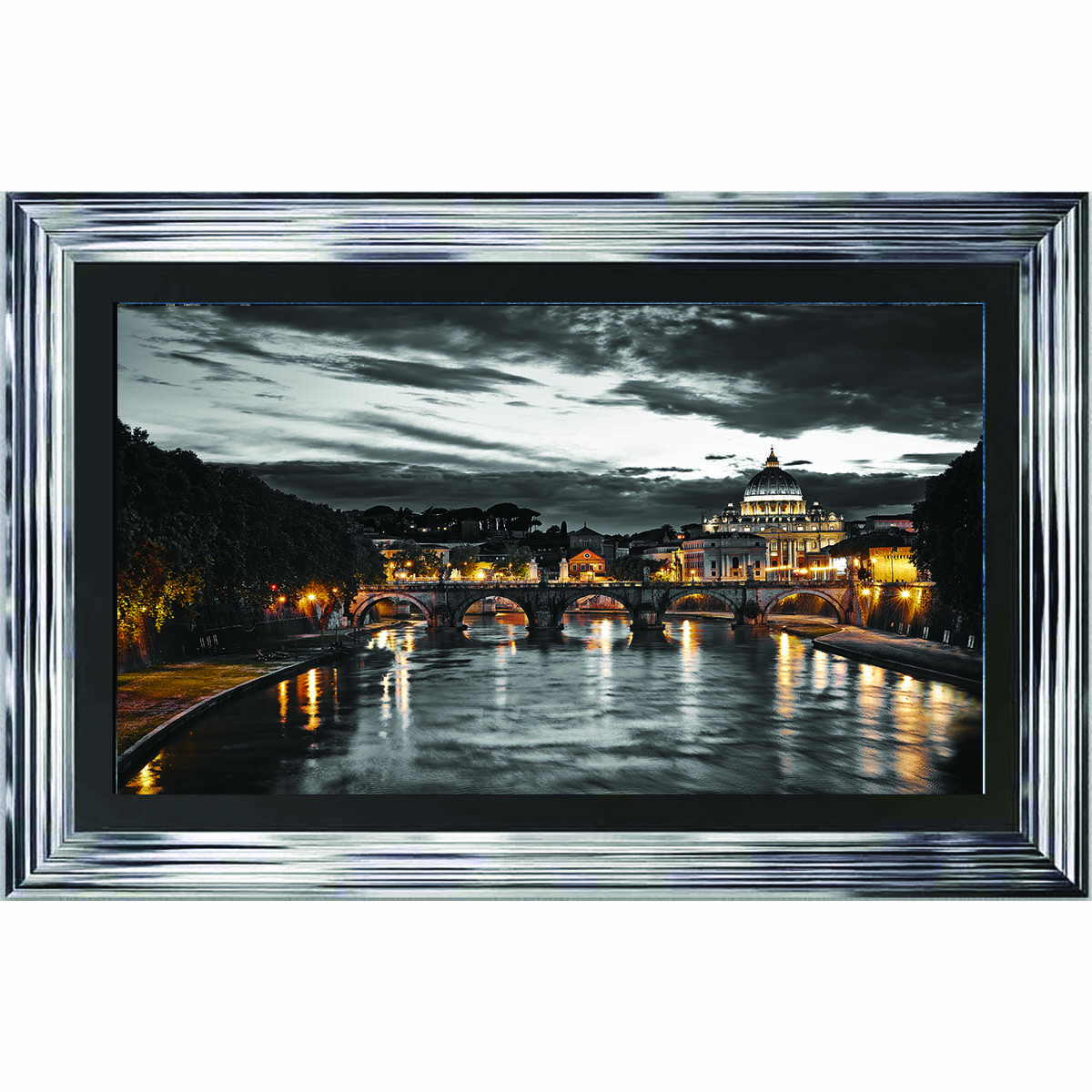 Silver Roma 3d Embellished Framed Wall Artwork