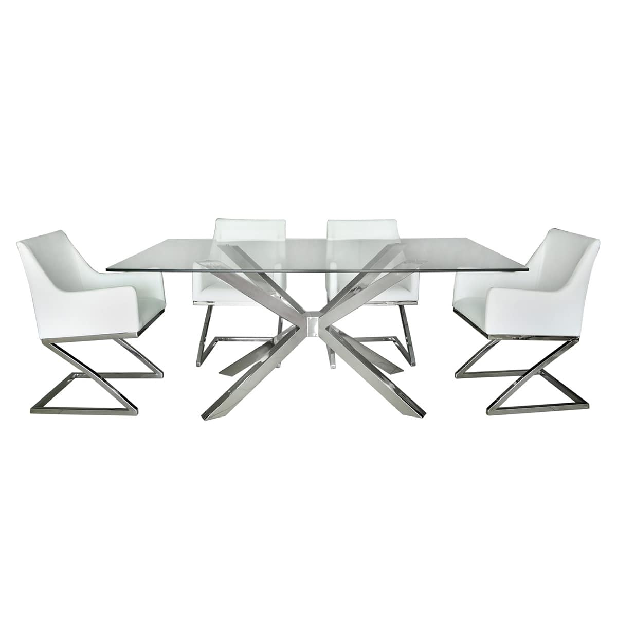 Astro Glass and Chrome Dining Table with Four White Chairs