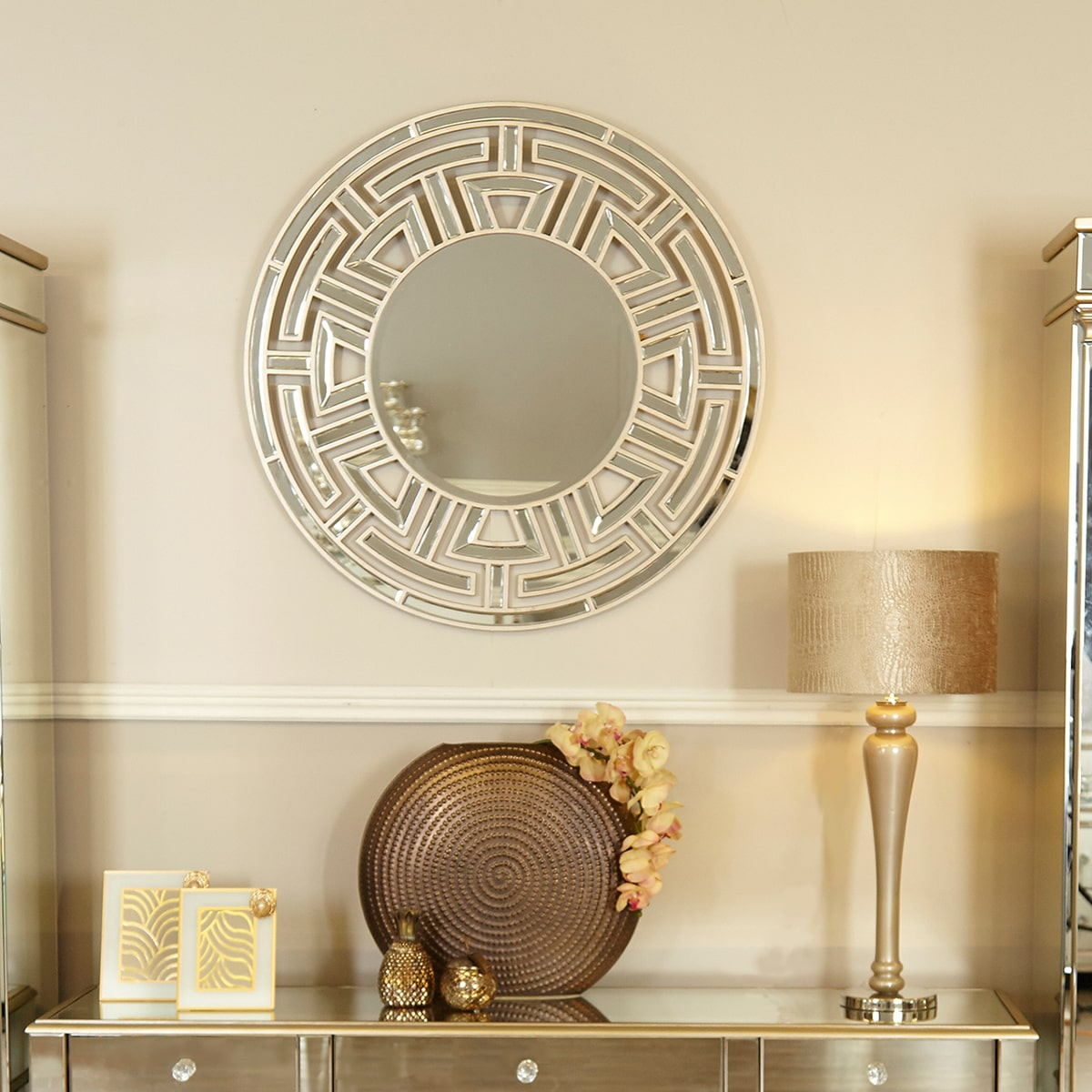 Athena Champagne Round Wall Mirror