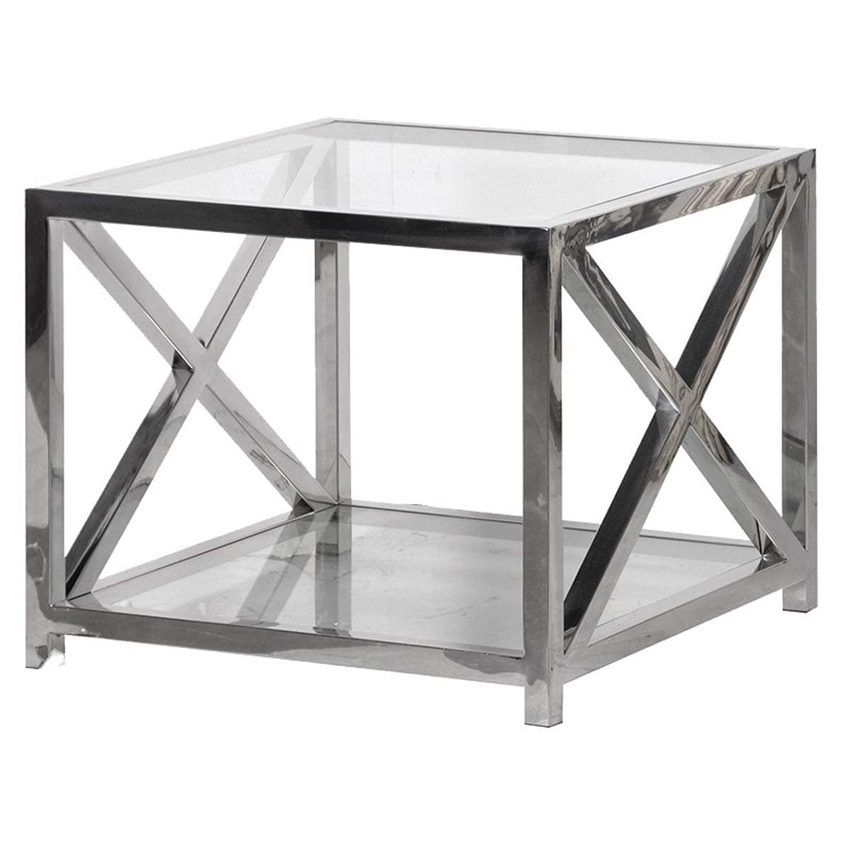 Atlas Brooklyn Solid Stainless Steel and Glass Criss Cross Side Table