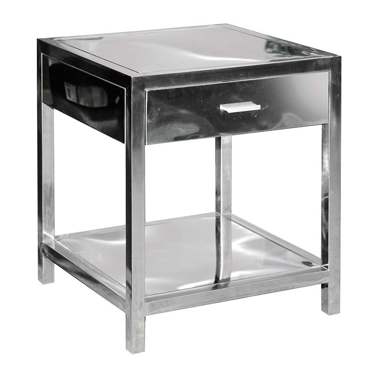 Atlas Polished Chrome 1 Drawer Side Table with Shelf