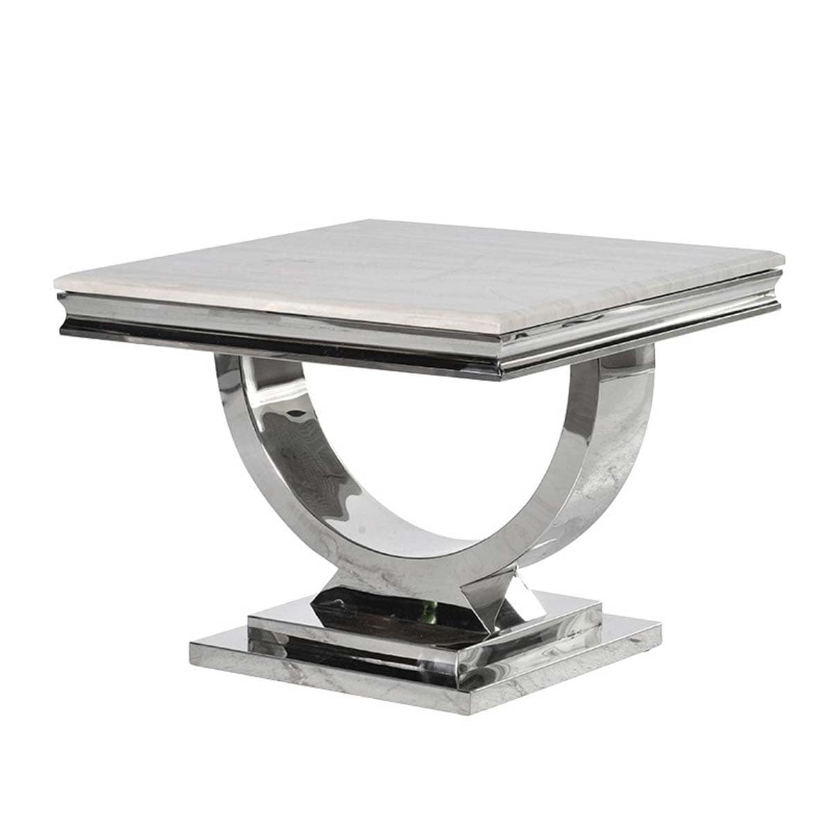 Cream Marble Top and Chrome U Shape Atlas Side Table