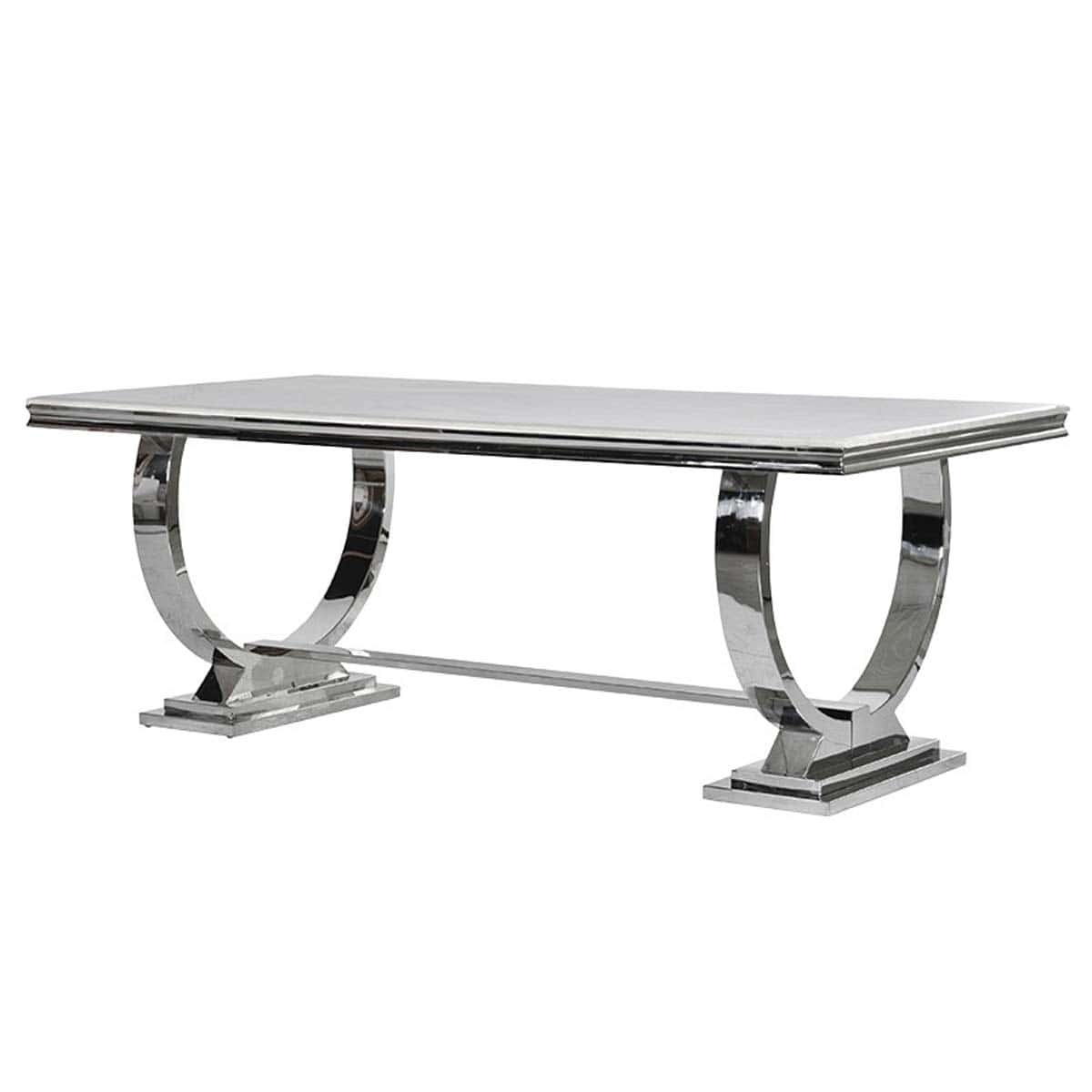 Cream Marble Top and Chrome U shape Atlas Dining Table