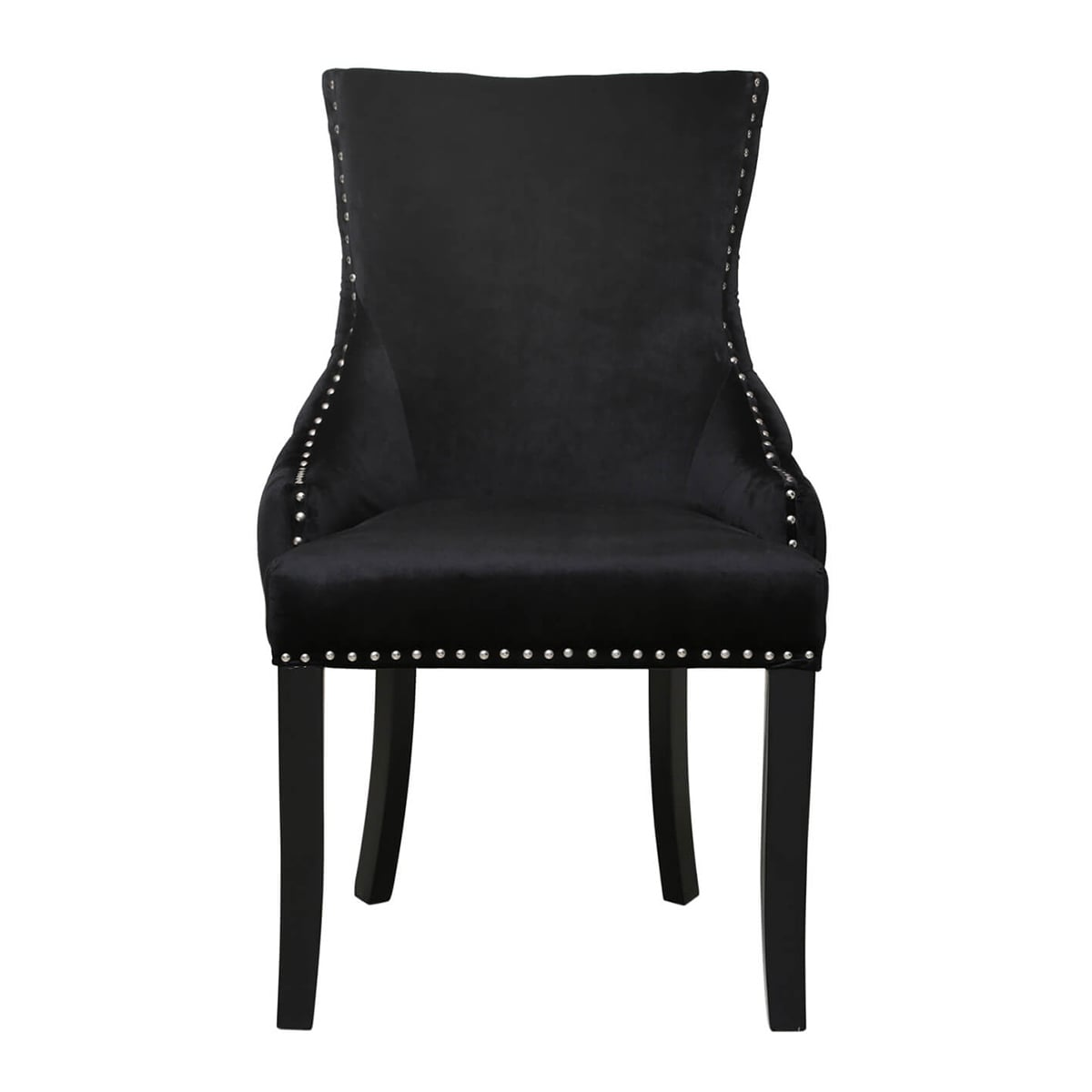 Inspired Pair Of Tufted Back Dining Chairs Black