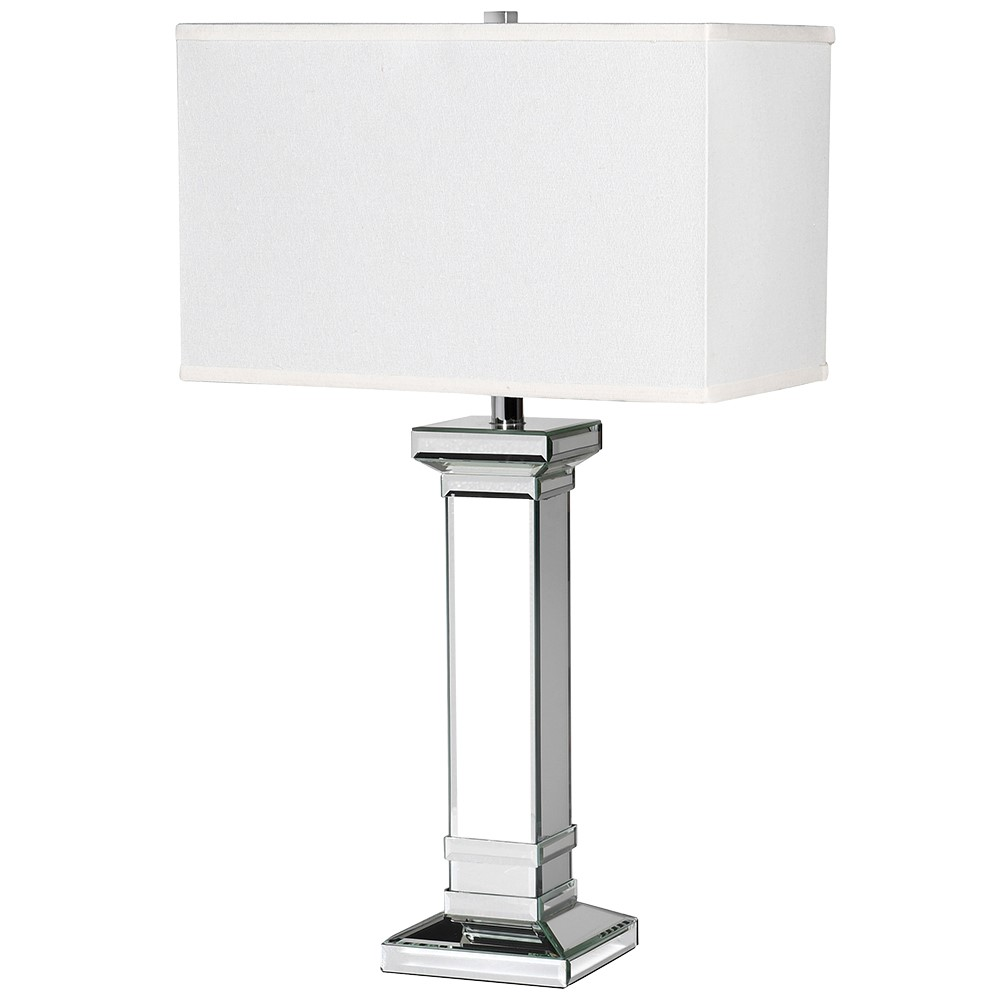 Mirror Square Column Table Lamp with White Shade