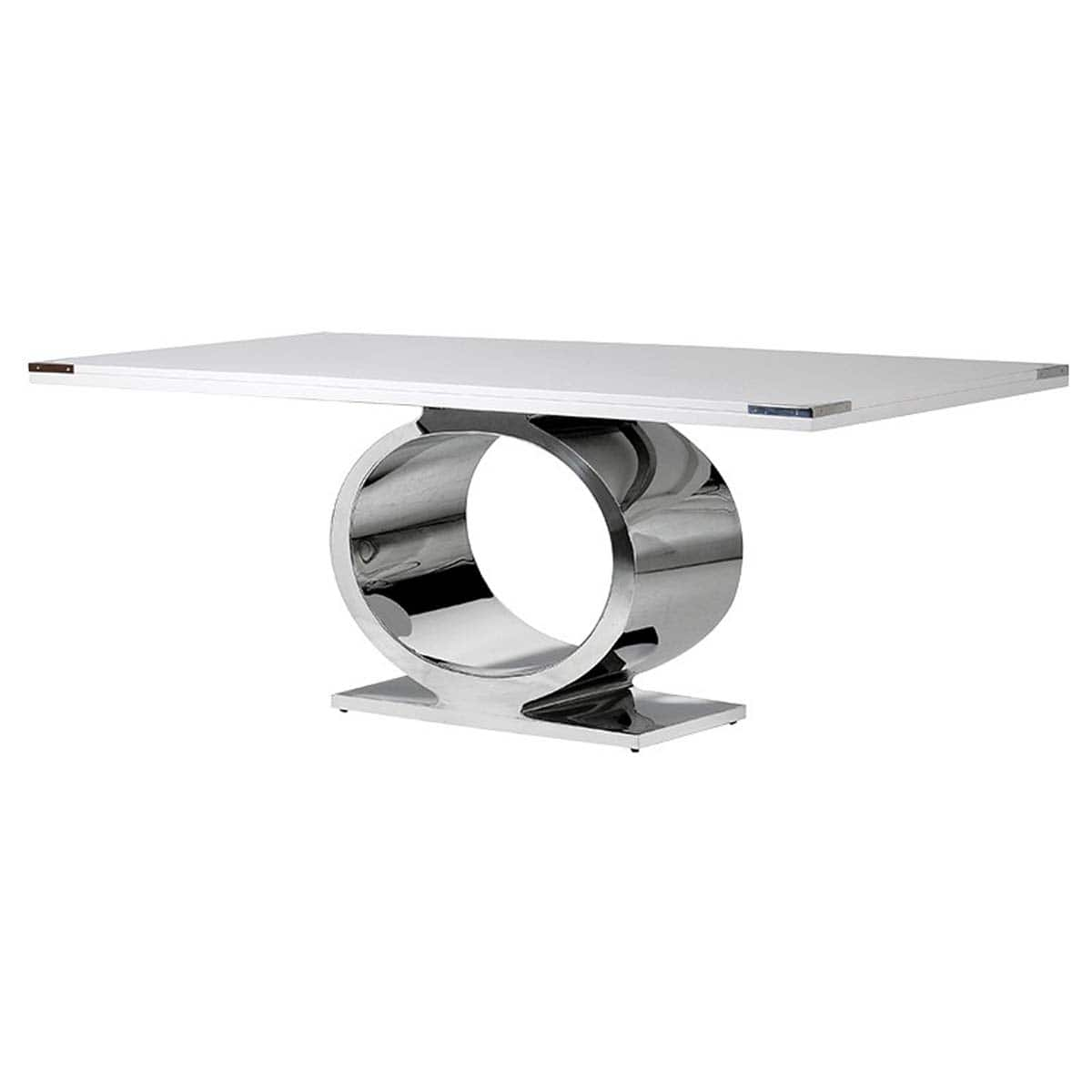 White Harlow Dining Table with Chrome O Ring Base
