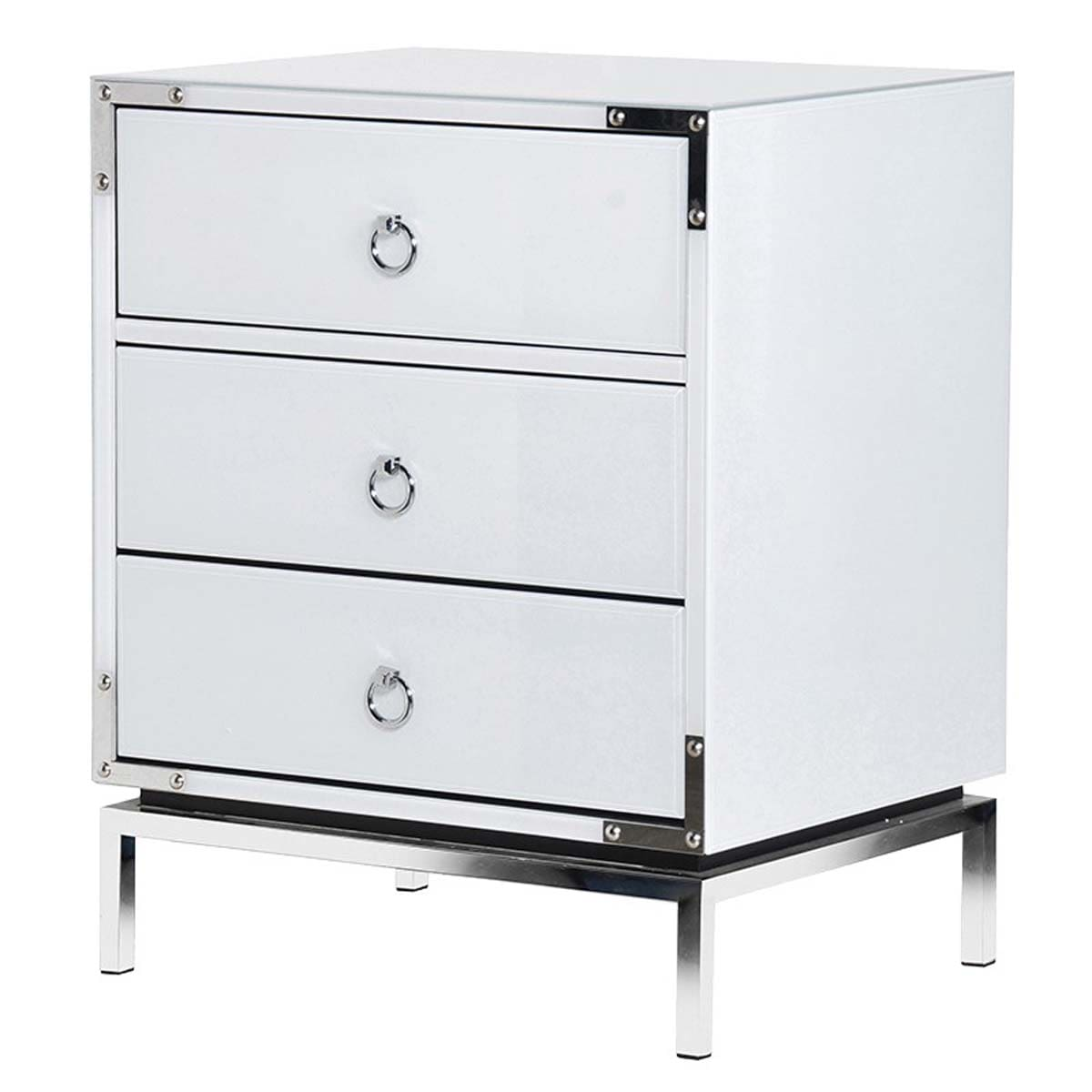 White Valencian 3 Drawer Bedside Cabinets