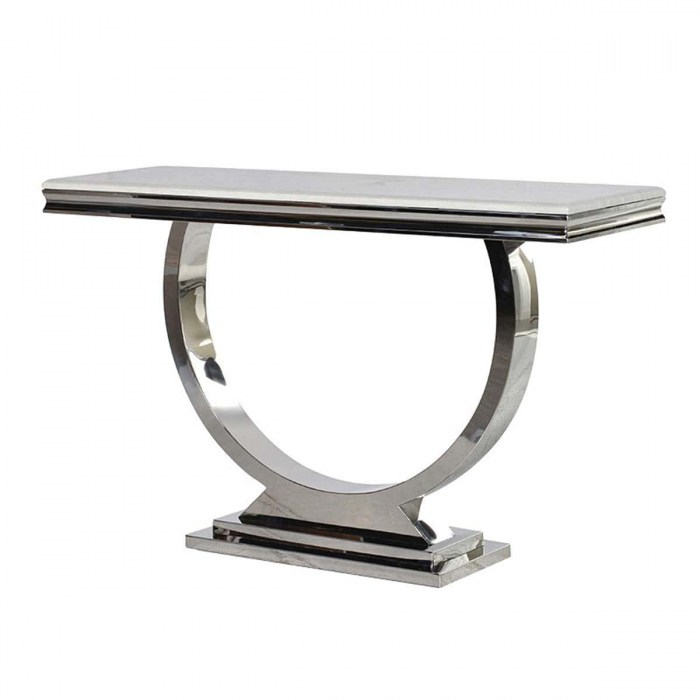 Cream Marble Top and Chrome U Shape Atlas Side Table -YZG004