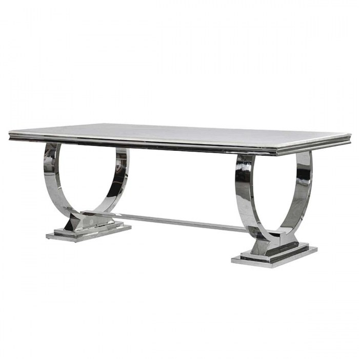 Cream Marble Top and Chrome U shape Atlas Dining Table-YZG001