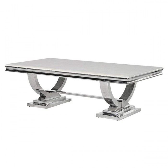Cream Marble and Chrome U Shaped Atlas Coffee Table-YZG0024