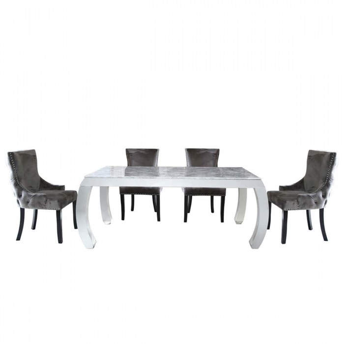 Florina marble effect dining table and four grey dining chairs DINING-SET-10-GY