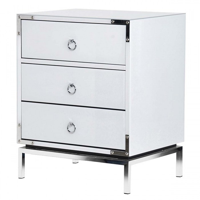 White Valencian 3 Drawer Bedside Cabinets-ECC047